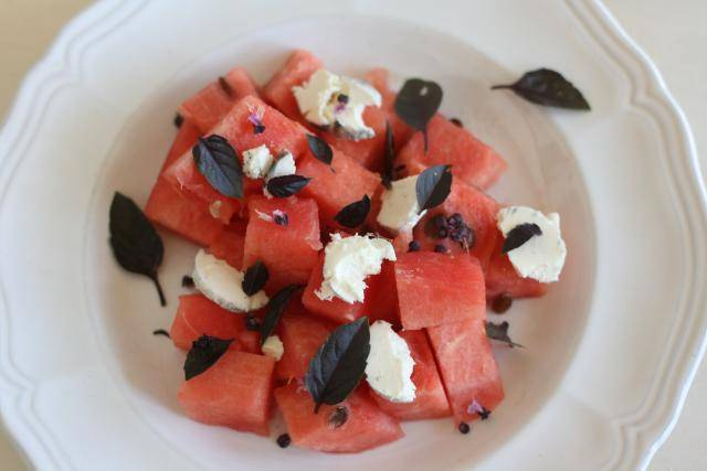 Watermelon with Goat Cheese and Basil